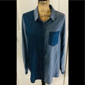 CAFFE MARRAKESH Patchwork Denim Button Down Shirt